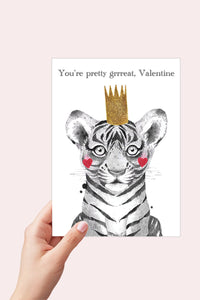 Tiger Valentine Card, You're Pretty Great Valentine, Cute Valentine, Printable Card