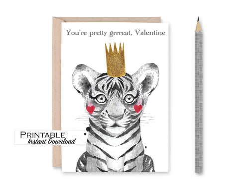 Tiger Valentine Card, You're Pretty Great Valentine, Tiger Crown, Valentines for Him, Kids Valentines, Printable Valentines Card