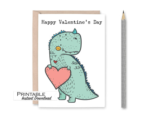 Dinosaur Valentine Card, Valentines Day Kid Gifts, T Rex Happy Valentines Day Card, Printable Heart Card, Valentines Instant Download