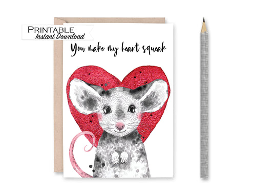 You Make my Heart Squeak Mouse Anniversary Card, Kids Valentines, Love Card, Heart Greeting Card, Printable Card Digital Download