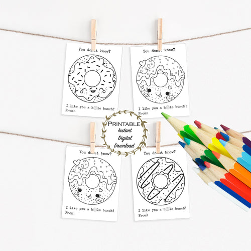 Donut Classroom Valentines, Coloring Pages, Class Valentines, Donut Valentine Card Printable, Valentines Day Kid Gifts, Donut Birthday