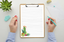 Load image into Gallery viewer, Cute Stationary, Letter Writing Set, Lined Cactus Stationary Set, Digital Download