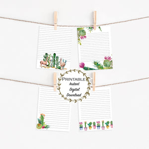 Cute Stationary, Letter Writing Set, Lined Cactus Stationary Set, Digital Download