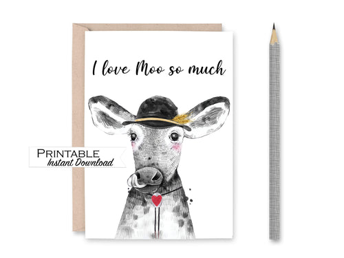 I Love Moo so Much Cow Card, Anniversary Card, Funny Love Card, Valentines Day Card for Him, Printable Card Digital Download