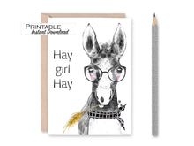 Load image into Gallery viewer, Hey Girl Hey, Horse Valentine Card, Hay Girl Hay, Digital Download