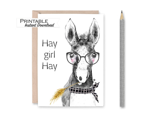 Hay Girl Hay Horse Card, Funny Card, Friendship Card, Farm Animal Card, Hey Girl Hey, Girlfriend Gift, Printable Card Digital Download