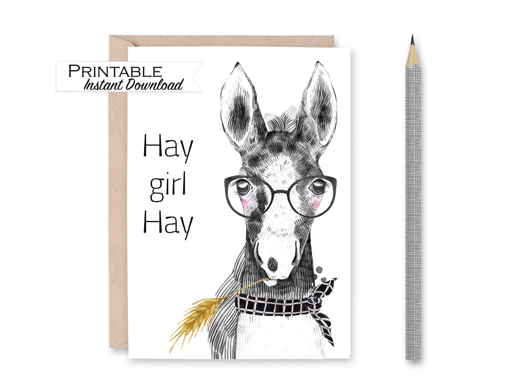 Hey Girl Hey, Horse Valentine Card, Hay Girl Hay, Digital Download
