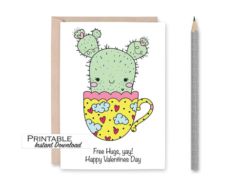 Free Hugs Card, Succulents Valentine Card, Succulent Gift, Punny Valentine Card, Cactus Valentine Card, Instant Download