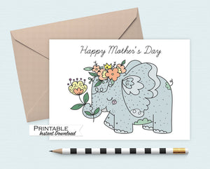 Elephant Mothers Day Card Printable, Happy Mothers Day Card, Flower Crown Elephant Card, Mothers Day Gift, Instant Download Card for Mum
