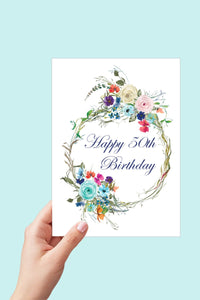 50th Birthday Card, Floral Happy Birthday Card for Her, Printable Birthday Card, 50 and Fabulous, 50th Birthday Gift for Women