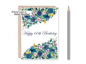 60th Birthday Card, Floral Happy Birthday Card for Her, Printable Birthday, 60 and Fabulous, 60th Birthday Gifts for Women, Instant Download