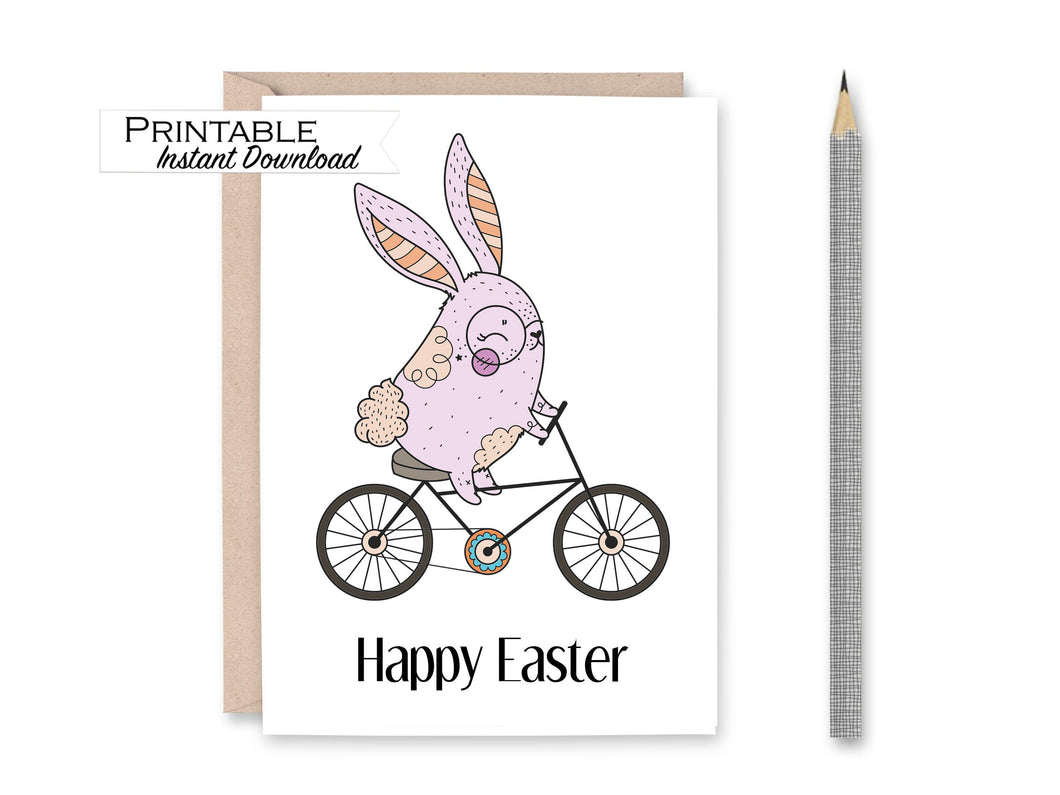 Bike Easter Bunny Card, Happy Easter Basket Card, Pastel Easter Card, Bicycle Rabbit Card Instant Download, Easter Printable Card