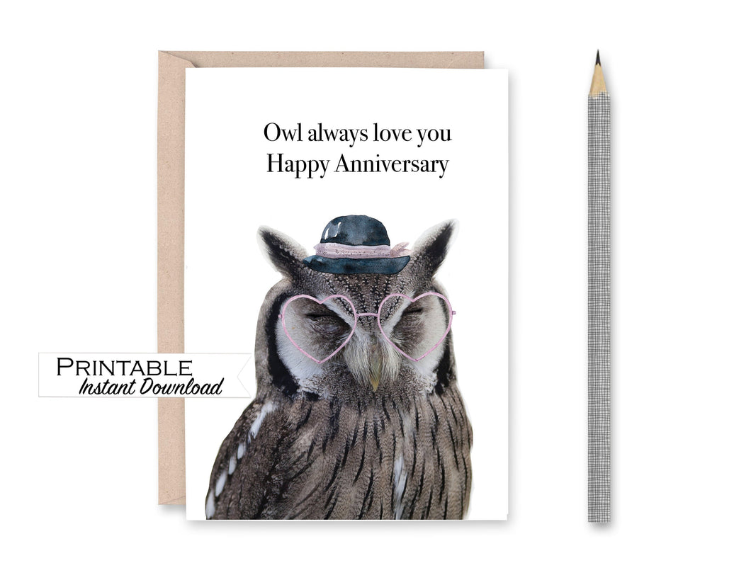 Owl Anniversary Card, Owl Always Love You, Happy Anniversary Card, Heart Glasses, Printable Card Digital Download
