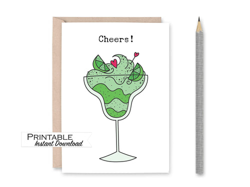 Cheers Margarita Card, 21st Birthday Card, Cinco de Mayo, Congratulations Card, Cheers to 40 Years, Cheers and Beers, Printable Card