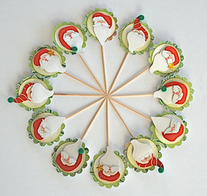 Santa Claus Cupcake Toppers, Whimsical Christmas Decor