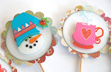 Load image into Gallery viewer, Snowman Cupcakes. Cup o' Joe Cupcake Toppers. Hot Chocolate Party Decor. Coffee Cupcake Toppers.