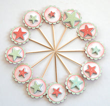 Load image into Gallery viewer, Christmas Star Cupcake Toppers. Mint and Red Star Cupcake Toppers. Christmas Party Decor. Star Food Picks.