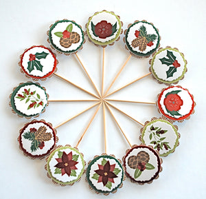 Nature Christmas Cupcake Toppers. Pinecones and Poinsettias. Wintertime Decorations.