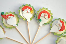 Load image into Gallery viewer, Santa Claus Cupcake Toppers, Whimsical Christmas Decor
