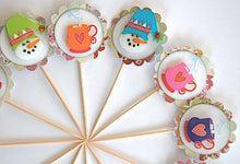 Load image into Gallery viewer, Snowman Cupcake Toppers, Hot Cocoa Party, Cup o' Joe