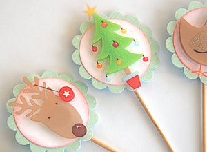 Cute Christmas Cupcake Toppers. Reindeer and Friends Cupcakes. Christmas Tree Food Picks. Kid Christmas Party.