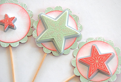 Christmas Star Cupcake Toppers. Mint and Red Star Cupcake Toppers. Christmas Party Decor. Star Food Picks.