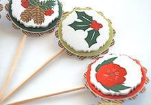 Load image into Gallery viewer, Nature Christmas Cupcake Toppers. Pinecones and Poinsettias. Wintertime Decorations.