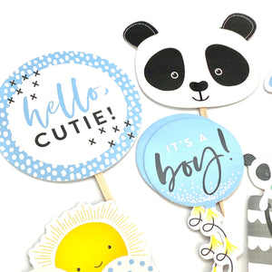 Baby Boy Cupcake Toppers, Its a Boy Toppers, Baby Shower Decor, Cute Panda, Chase Rainbows, Hello Cutie, Oh Baby, Baby Boy Sticker Set