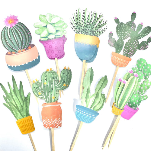 Succulent Cupcake Toppers, Boho Baby Shower, Succulent Party Decor, Succulent Shower, Succulent Sticker Set, Southwestern Theme Birthday