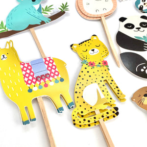Safari Animal Cupcake Toppers, Wild One Party, Zoo Animals Baby Shower, Party Animal Decor, Animal Stickers, Animal Birthday, Sloth, Panda