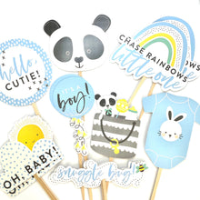 Load image into Gallery viewer, Baby Boy Cupcake Toppers, Its a Boy Toppers, Baby Shower Decor, Cute Panda, Chase Rainbows, Hello Cutie, Oh Baby, Baby Boy Sticker Set