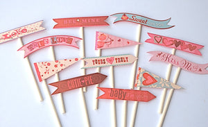Valentine Flags Cupcake Toppers. Love day treats. Baby I'm yours. Cutie pie. Bee Mine. Sweet on you. Valentines party supplies. Yours truly.