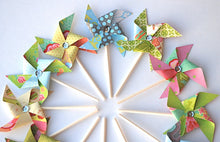 Load image into Gallery viewer, Pastel Sequin Pinwheel Cupcake Toppers. Pinwheel Party. Pinwheel Cupcake Decor. Sweet Nectar Pinwheels.