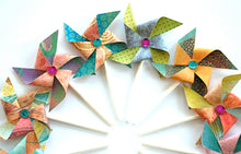 Load image into Gallery viewer, Sequin Paper Pinwheels, Pinwheel Cupcake Toppers