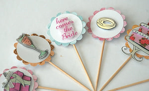 Wedding Cupcake Toppers. Bridal Shower Cupcakes. Happily Ever After Cupcake Toppers. Wedding Decor.