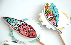 Feather Toppers. Boho Feather Cupcake Toppers. Wild One. 1st Birthday Toppers. Pastel Colors. Boho Birthday Party. Feather Cupcakes.