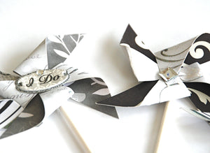 Wedding Pinwheel Cupcake Toppers. I Do. Bridal Shower Decor. Wedding Decor. Glitter Wedding.