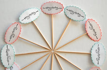 Load image into Gallery viewer, Very Merry Food Picks. Hand-stamped Christmas Cupcake Toppers. Christmas Party Decor.