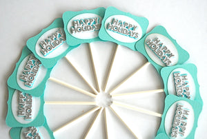 Happy Holidays Cupcake Toppers. Aqua and Glittery Cupcakes. Holiday Party Decor.