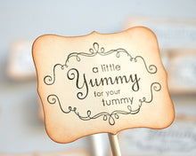 Load image into Gallery viewer, Sweet Treat Toppers, A Little Yummy for your Tummy, Cupcake Toppers