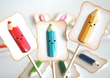 Load image into Gallery viewer, Art Party, Crayon Cupcake Toppers, Kawaii Decor, Colored Pencil Cupcake Toppers