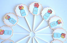 Load image into Gallery viewer, Floral Cupcake Toppers. Valentines Day Decorations. Vintage Bell Jars. Flowers Cupcake Toppers.