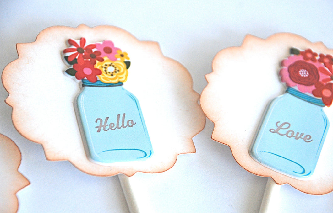 Floral Cupcake Toppers. Valentines Day Decorations. Vintage Bell Jars. Flowers Cupcake Toppers.