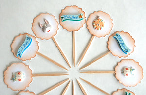 Baby Boy Cupcake Toppers, It's a Boy, Baby Shower Cupcake Toppers