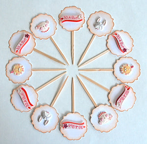 Baby Girl Cupcake Toppers, It's a Girl, Circus Animals, Baby Shower Cupcake Toppers