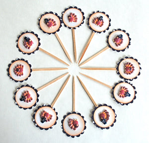 Thanksgiving Turkey Food Picks. Gobble Gobble. Thanksgiving Cupcake Toppers. Thanksgiving Decor.