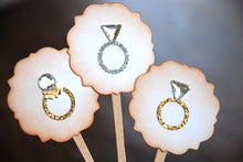 Load image into Gallery viewer, Wedding Ring Bling Bling- Cupcake Toppers/Party Sticks