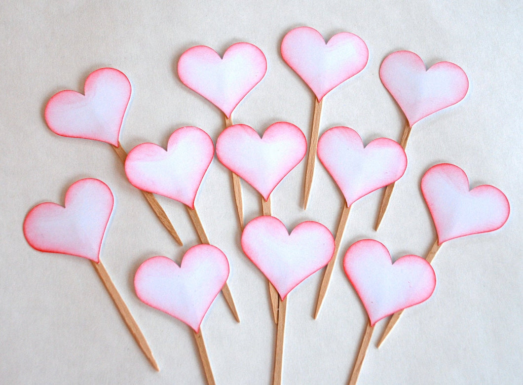 Valentines Day Cupcake Picks. Red Heart Cupcake Toppers. Valentine's Party Decor. Anniversary Cupcake Toppers.