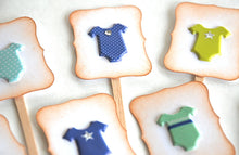 Load image into Gallery viewer, Boy Baby Shower Cupcake Toppers. Baby Boy Onesies. It's a Boy. Baby Shower Decor.