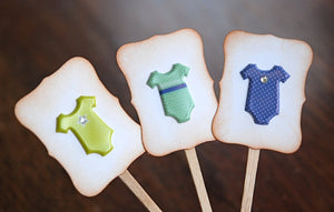 Boy Baby Shower Cupcake Toppers. Baby Boy Onesies. It's a Boy. Baby Shower Decor.